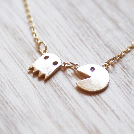 Gold Plated Pac Man Necklace