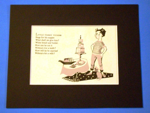 Little Tommy Tucker Nursery Rhyme 1950s Vintage Matted Print