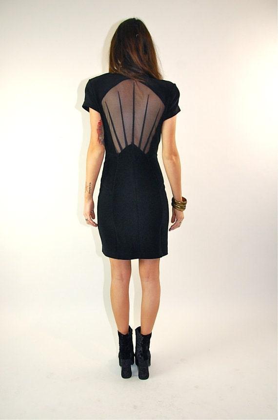 SALE VTG avant garde Asian ethnic mandarin collar cut out sheer mesh bandage bodycon black dress