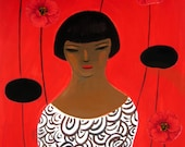 woman and poppy,