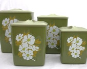 Vintage Avocado Green Kitchen Canister Set - Flair37