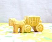 Vintage Yellow Horse Donkey and Wagon Cart Planter