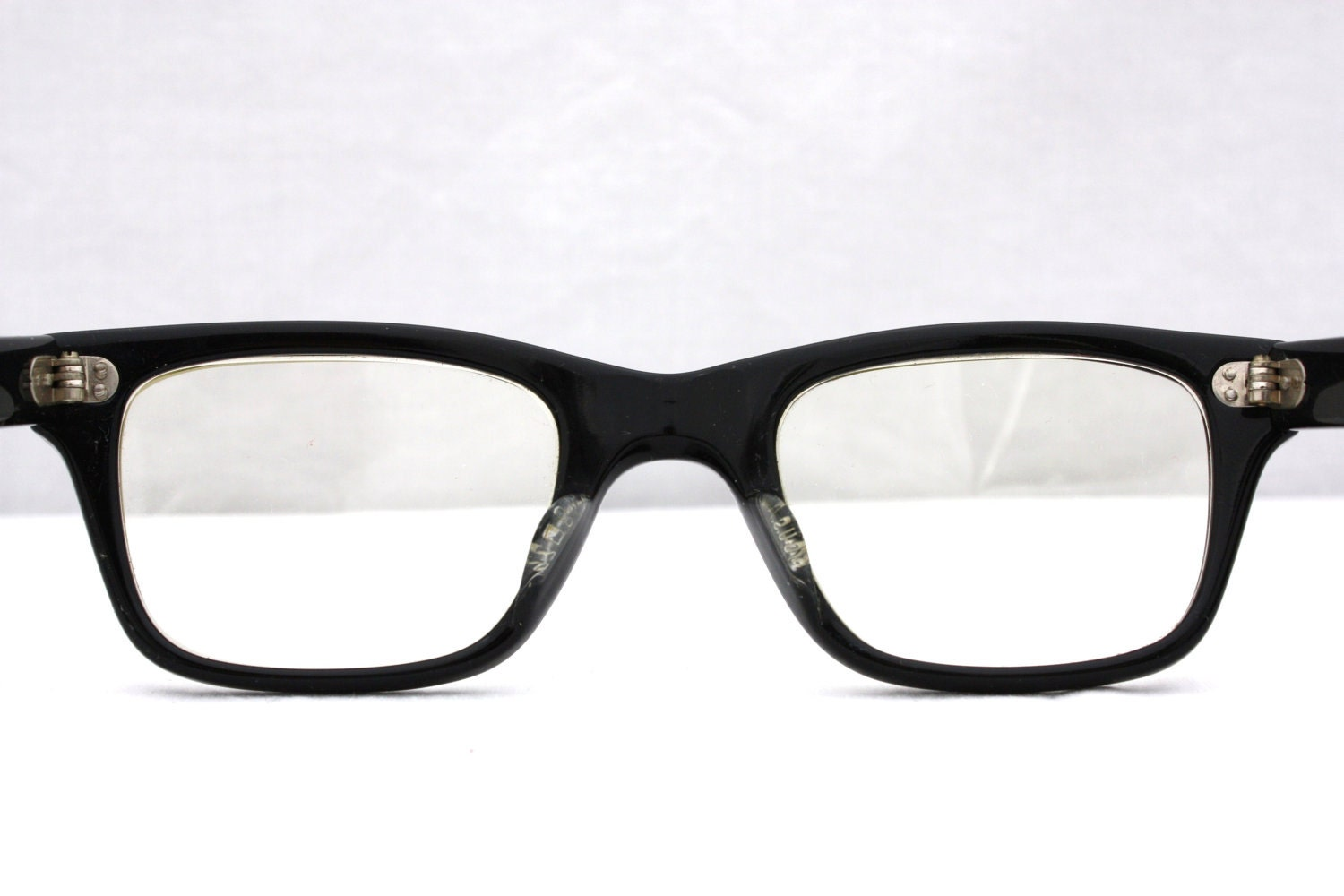 Retro Eyeglass Frames Portland Oregon : Vintage 1960s Black Horn Rimmed Glasses Mad Men Style by ...
