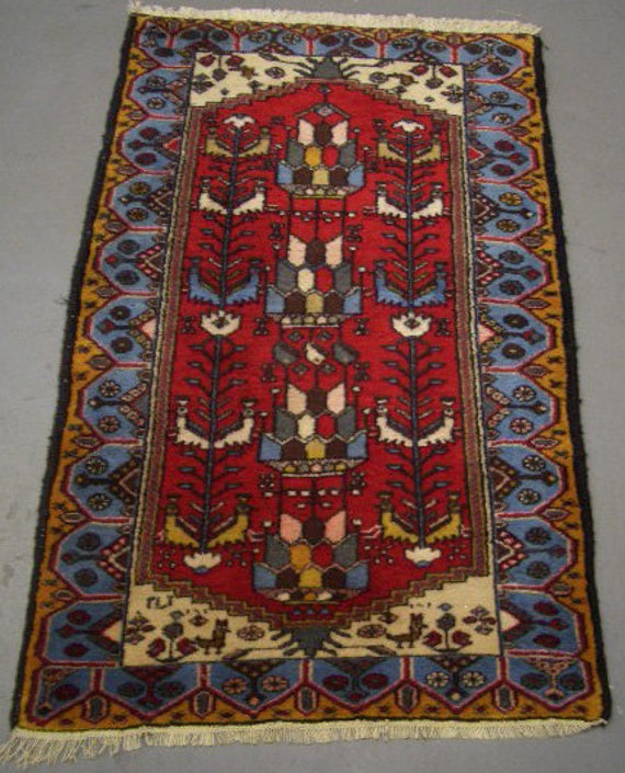1970s Hand-Knotted Hamadan Persian Rug