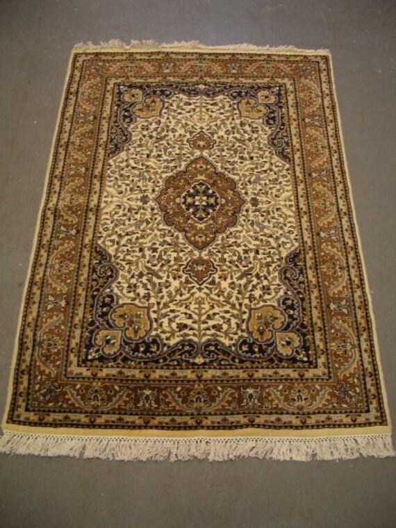 1980s Vintage, Hand-Knotted, Indo-Tabriz Rug