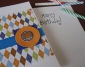 Paisley Happy Birthday Card With a Die Cut and Metal Celebrate Tag