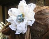 Lace Flower Ivory Bridal Hair Clip with Vintage Blue Pearl Center Hair Accessory for Bride By Vintage Blooms By Ellen