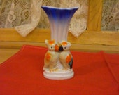 Occupied Japan Blue Bud Vase with Two Birds