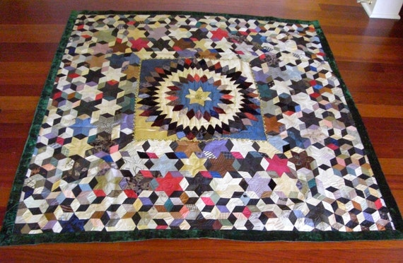 Stunning Museum Quality 1800's Textile Art Antique Silk and Velvet Quilt