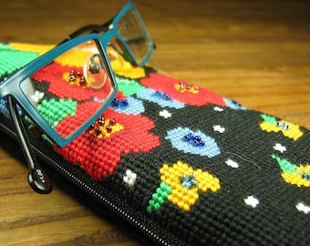 Bright Modern Needlepoint Eyeglass Case