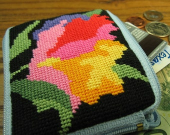 Watercolor Needlepoint Coin Purse