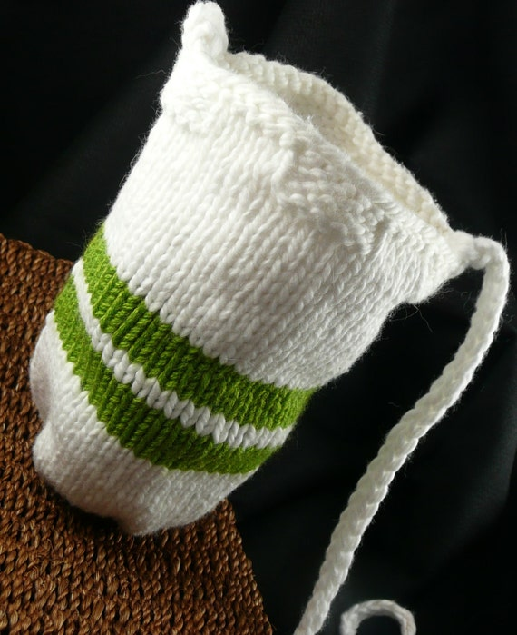 White Knitted Pouch with Bright Green Stripe