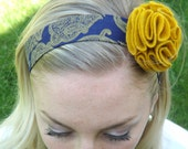 Navy blue, mustard yellow felt headband, Adult/teen, infant, toddler, made to order, any size