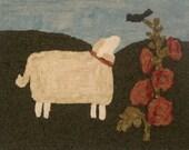 Sheep w/ Hollyhocks Hooked Rug Kit