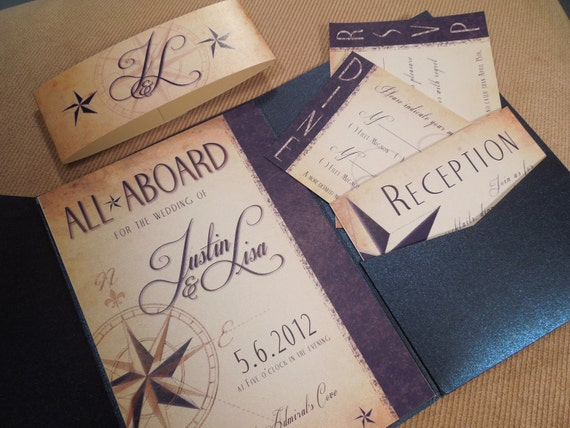 Sailboat Wedding Invitations: Items Similar To All Aboard Nautical Wedding Invitation On