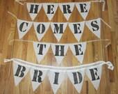 Here Comes the Bride Burlap Sign - flower girl / ring bearer