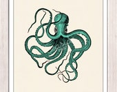 Octopus wall art Print Vintage octopus n2- sea foam color -sea life print SPOJ076