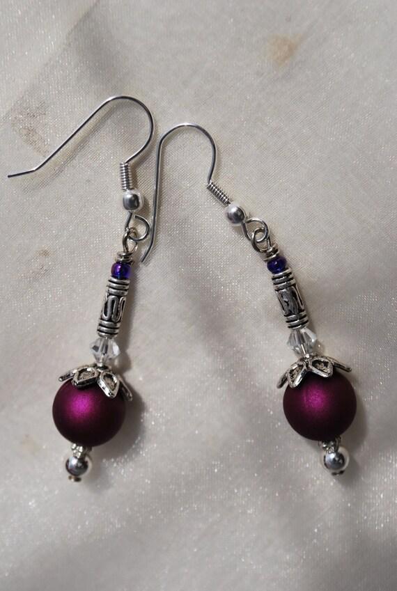 magenta earrings