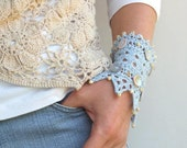 """Hand knitted lace bracelet cuff light blue linen yarn """"Cold Water"""""""