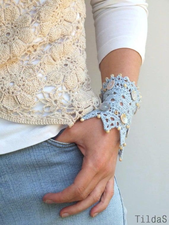 "Hand knitted lace bracelet cuff light blue linen yarn ""Cold Water"""