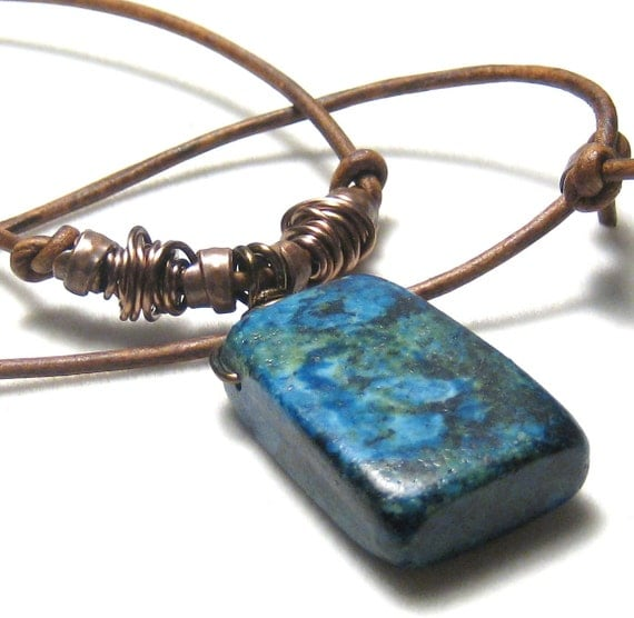 Blue African Jasper Leather Necklace