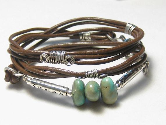 Turquoise Nugget Leather Bracelet