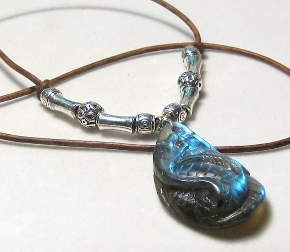 Carved Dragon Labradorite Leather Necklace