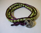 Wrap Bracelet Purple Silk and Bright Green Real Pearl