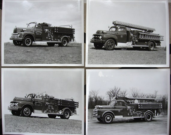 Set of 4 Vintage Black and White Fire Truck Photographs