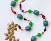 Moroccan Inspired colorful beaded necklace with three flower pendant
