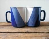 vintage mugs, coffee cups, blue, set of two mugs