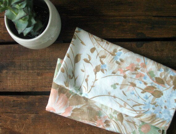 vintage cloth napkins floral print fabric napkins peach RESERVED FOR TVERMILLION1