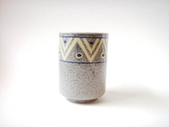 chevron patterned japanese tea cup, chevron vase, chevron pencil holder yellow and grey