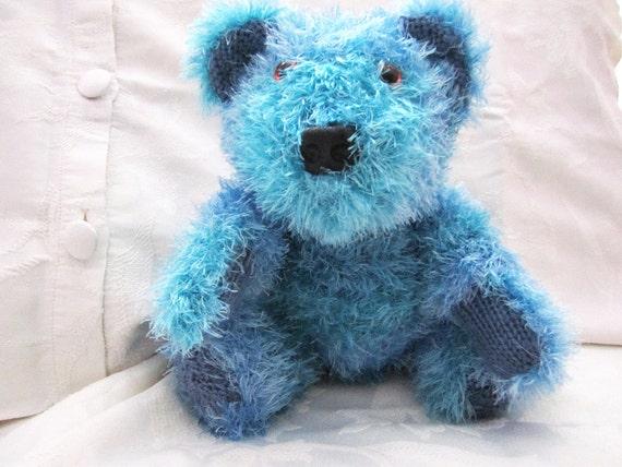 Knitted teddy bear in blue. Teddy bear knitted, Knitted bear, Little bear, Latharna Bears, Free worldwide shipping