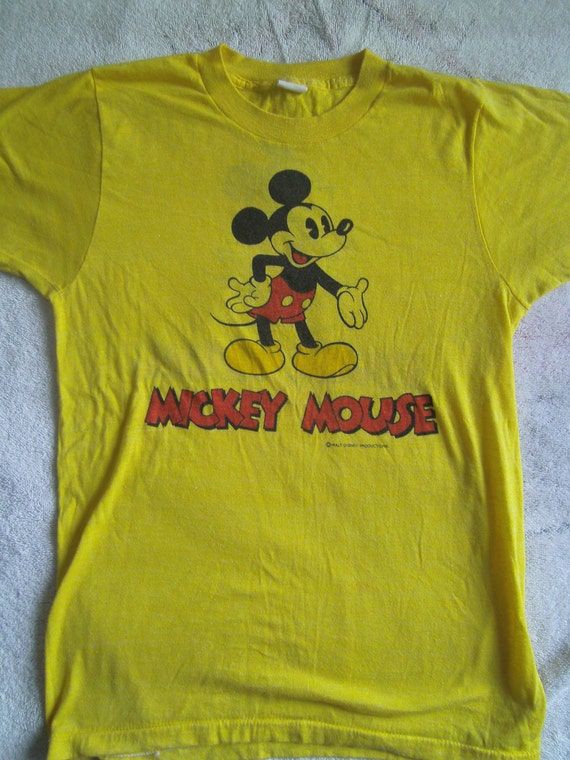 VINTAGE TROPIX TOGS Mickey Mouse Disneyland T-Shirt Medium Yellow