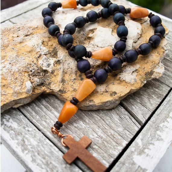 Blue Wood and Carnelian Anglican Rosary
