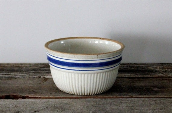 White and Blue Stoneware Bowl