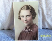 Vintage Hand Colored Photograph of a Beautiful Young Woman