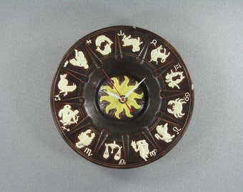 Wall Clock made from Upcycled Zodiac Ceramic Ashtray, Geekery, Clocks by DanO