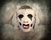 Creepy Clown Portrait Photo, Opera Mask, Costumed Halloween Decor, 8x8 Fine Art Print