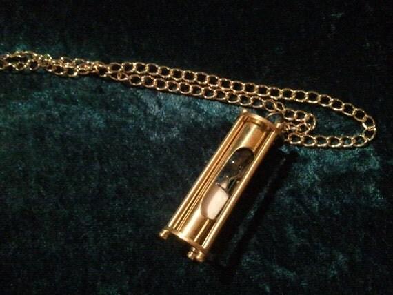 Hourglass Necklace Brass