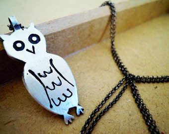 Owl Engraved Sterling Silver 925 Pendant With Chain