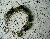 Pairs and Greens Handmade Button Charm Bracelet, silver tone chain support