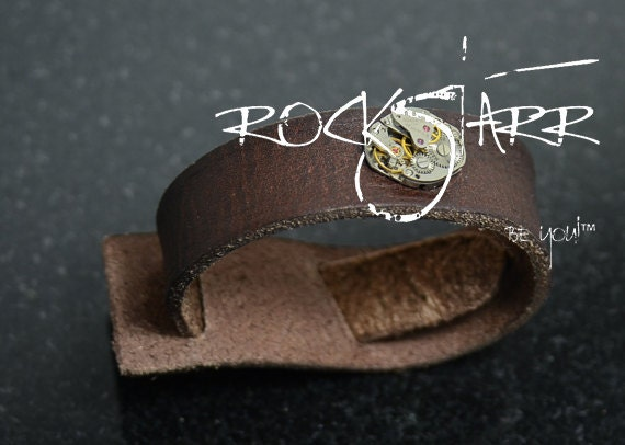 The Jermaine II - Rockstarr Mens Leather Bracelet Lucky Brand Slip Wrap Mahogany Brown Bracelet  with Genuine Watch Face - Father's day