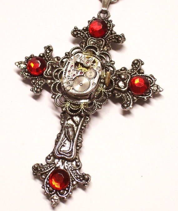 necklace steampunk gothic cross vintage watch by metalmorphos. Black Bedroom Furniture Sets. Home Design Ideas