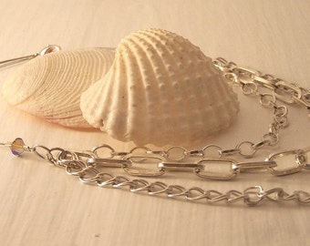 REDUCED PRICE, Handmade Necklace, Silver Plated Multi Chain Necklace, Silver Necklace,