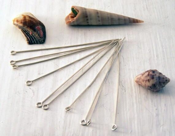 Recycled Sterling Silver Findings, 50mm Eyepins, Silver Eyepins, Ethical Eyepins, Jewellery Findings , Sterling Findings