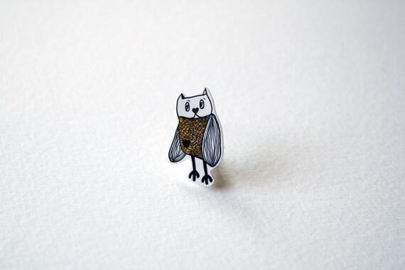 Eerin the Yellow Owl, brooch, hand drawn on shrink plastic