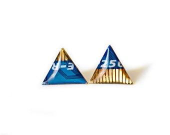 Geometric triangle stud earrings blue gold arrows earrings minimalist tribal jewelry