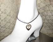 Bead and Chain Anklet with Heart Charm